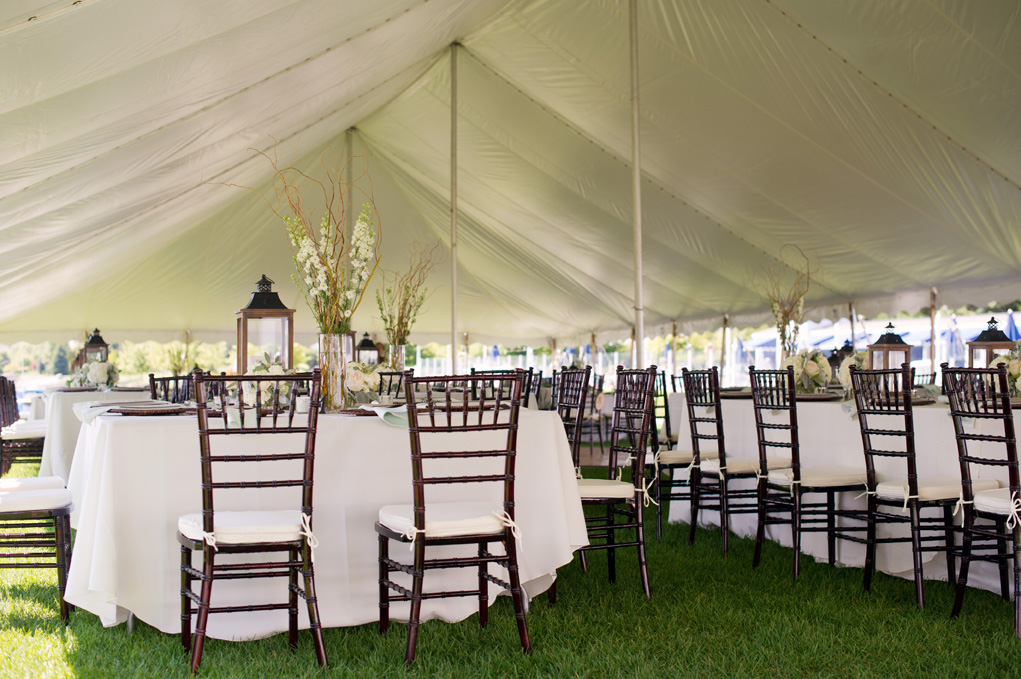 Lawn Tent Reception | Wooden Chairs | Tableau Events