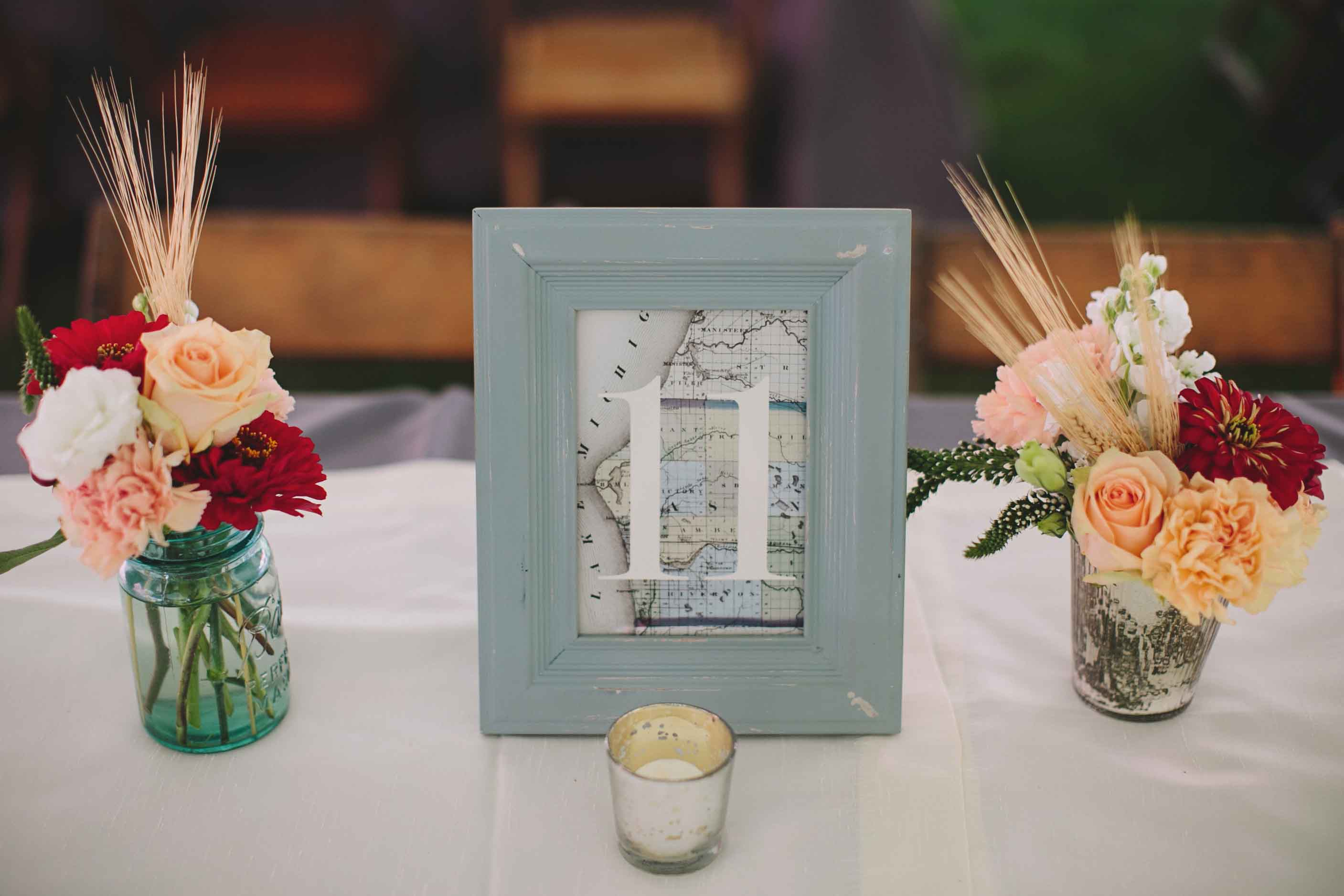 Nautical Table Number | Rustic Lakeshore Wedding | Tableau Events