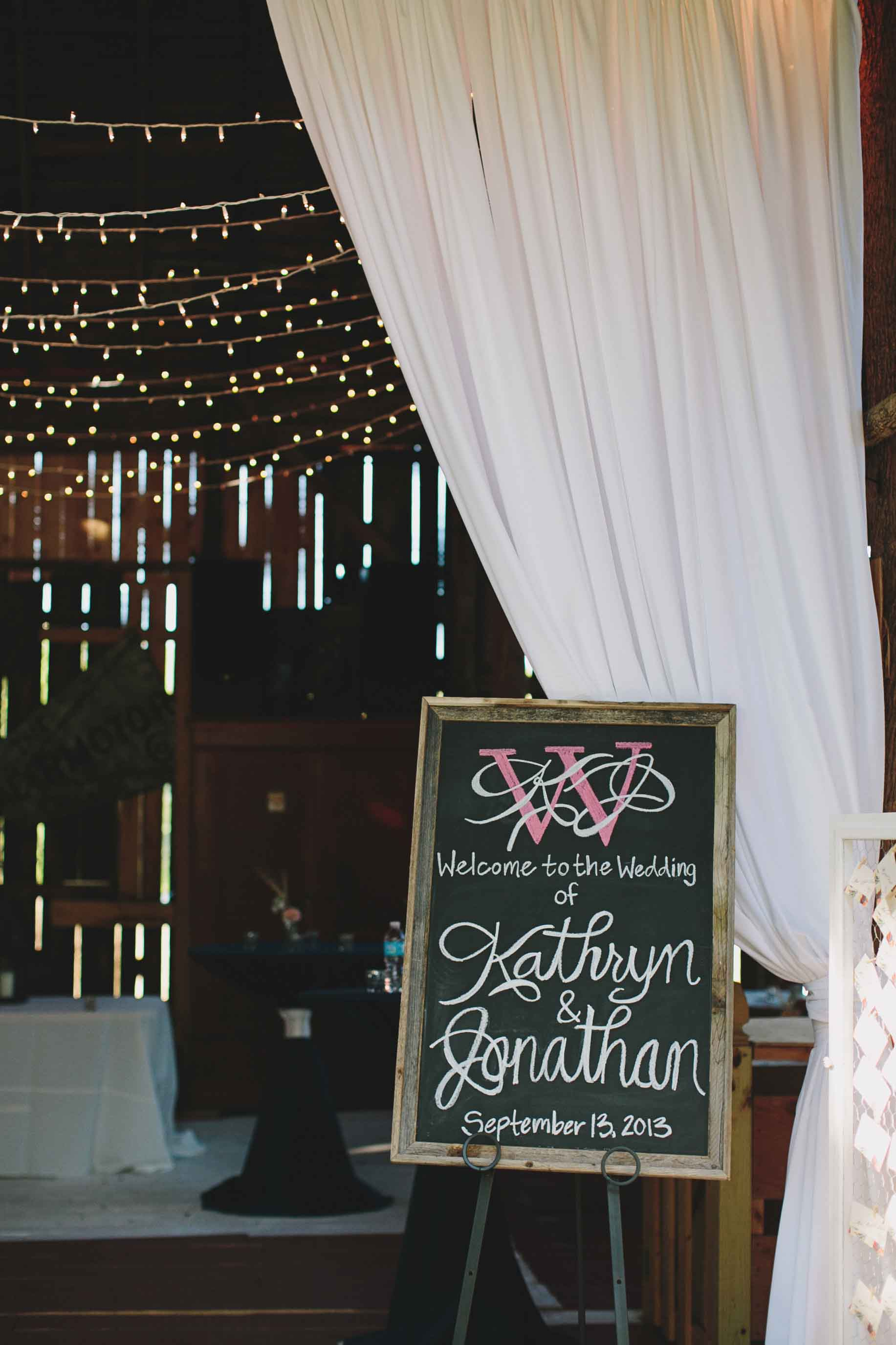 Custom Welcome Sign | Chalk Signs | Barn Wedding | Tableau Events