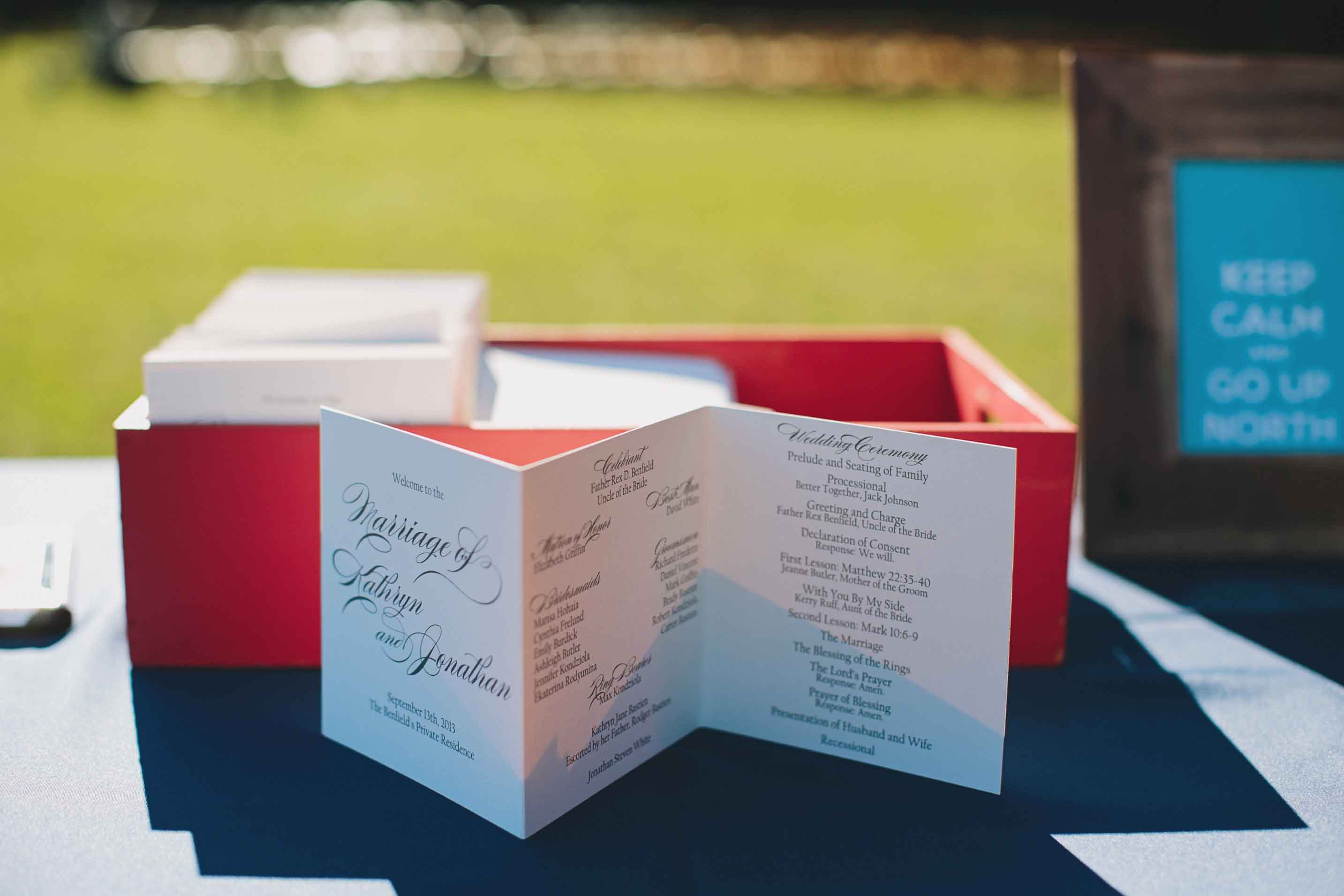 Poppy Wedding Colors | Ceremony Program | Tableau Events