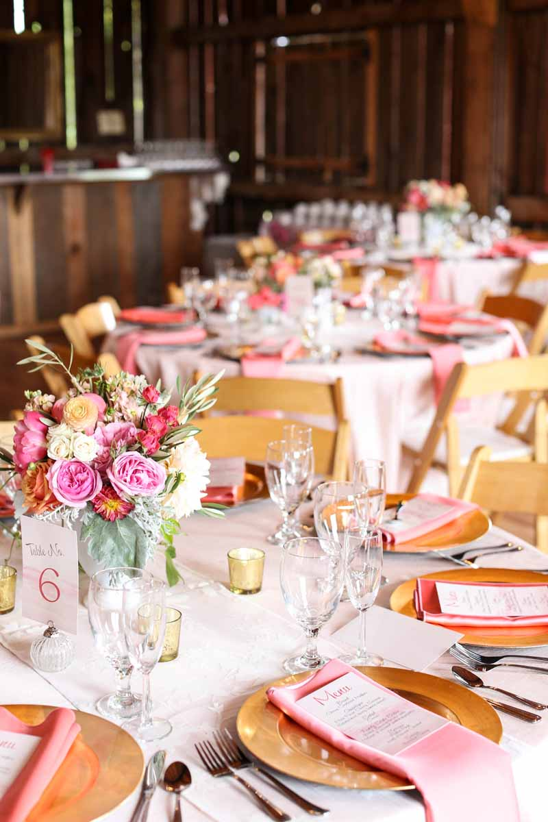 Pink and Gold Accents | Northern Michigan Summer Barn Wedding | Tableau Events