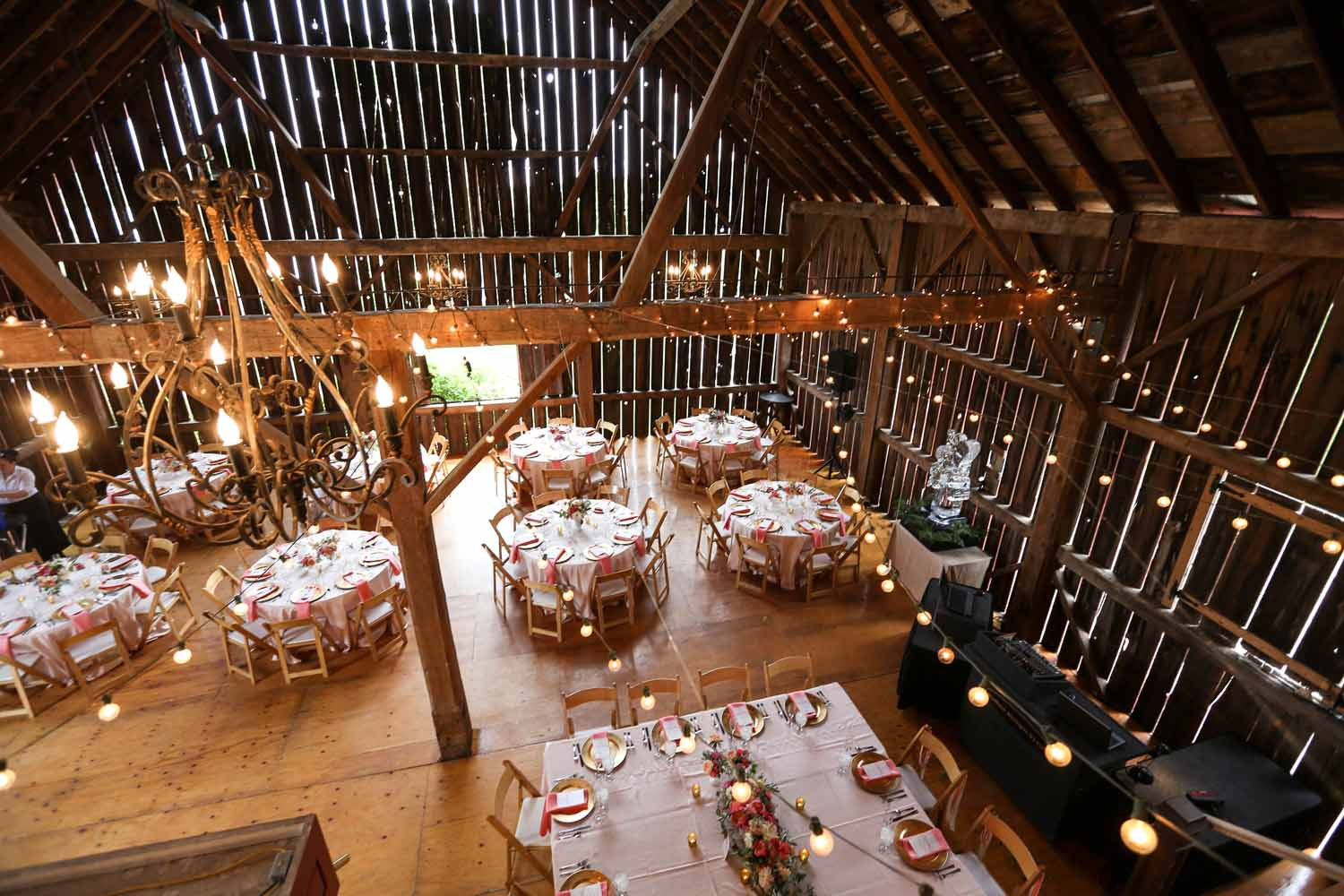 Barn Wedding Reception | String Cafe Lighting | Northern Michigan Wedding | Tableau Events