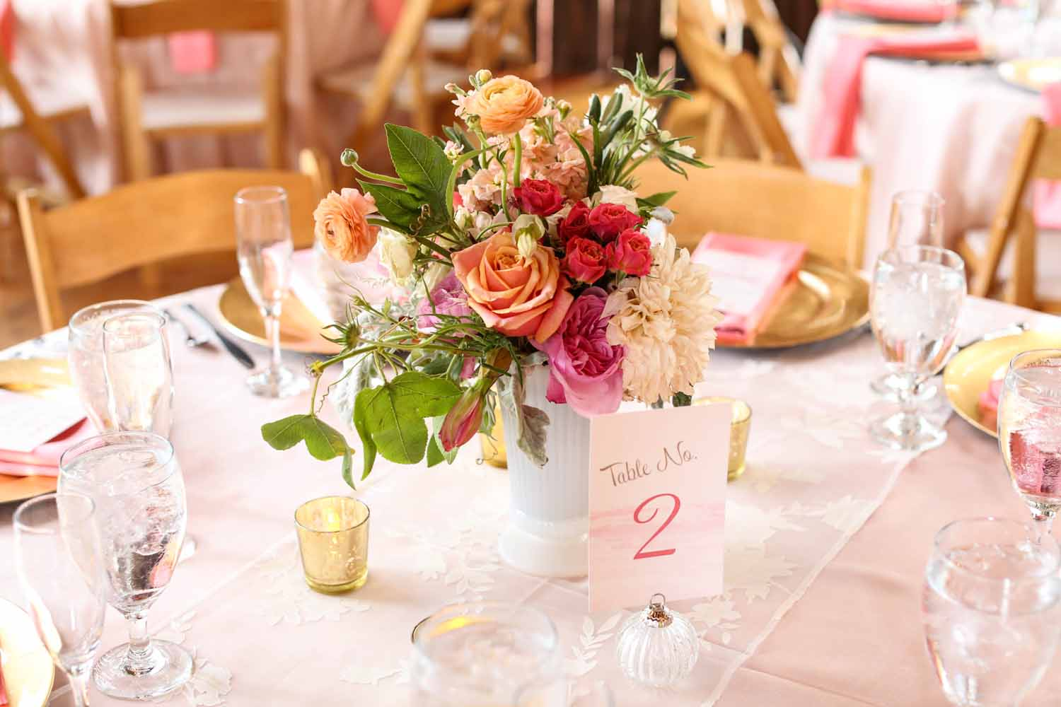 Table Numbers | Colorful Floral Arrangements | Tableau Events