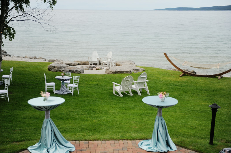 Tall Cocktail Tables | Lake Michigan Wedding | Tableau Events