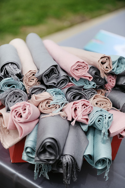 Pink Blush Gray Blue Shawls | Northern Michigan Outdoor Wedding | Tableau Events