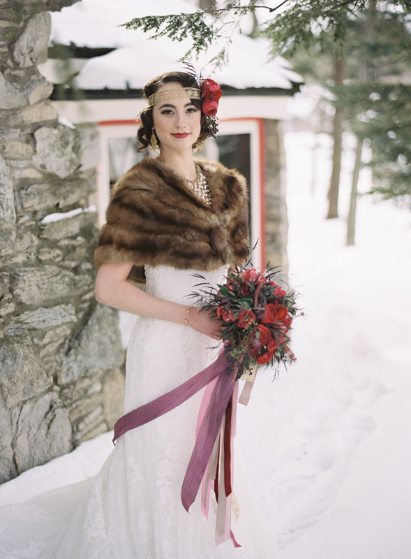 Northern Michigan Wedding Planning and Design | Faux Fur Shawl | Ribbons | BLOOM | Tableau Events