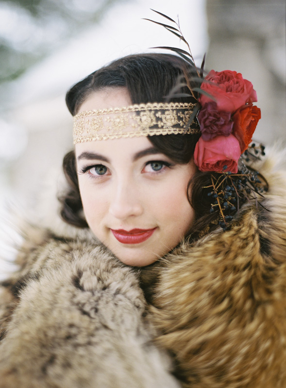 Gold Patterned and Floral Head Piece   BLOOM   Tableau Events