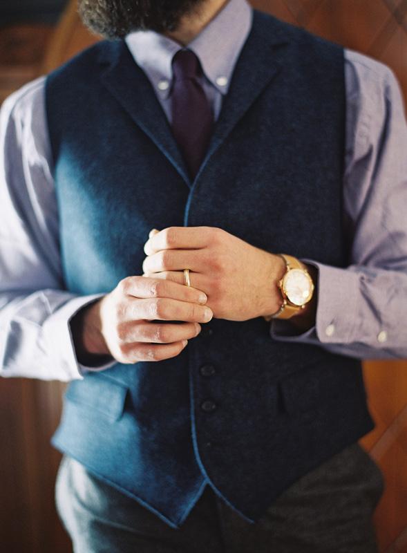 Groom | Navy Wool Vest | Classic Watch | Northern Michigan Winter Wedding | Tableau Events