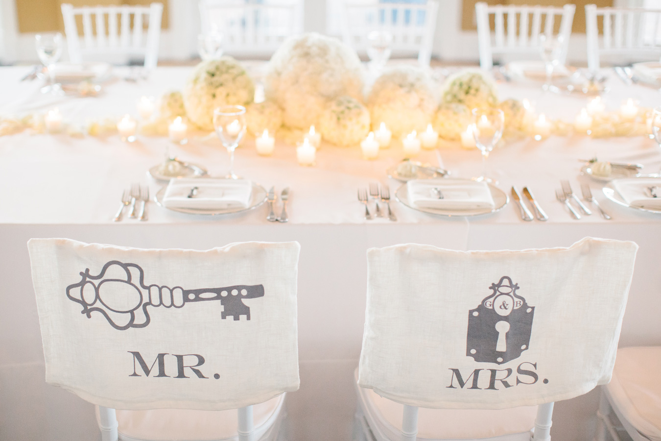 Mr. & Mrs. Chairs | White Flowers | Candles | Bloom Floral Design | Tableau Events
