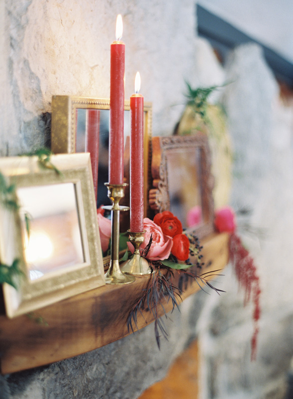 Fireplace Decor | Candle Sticks | Framed Mirror | Tableau Events