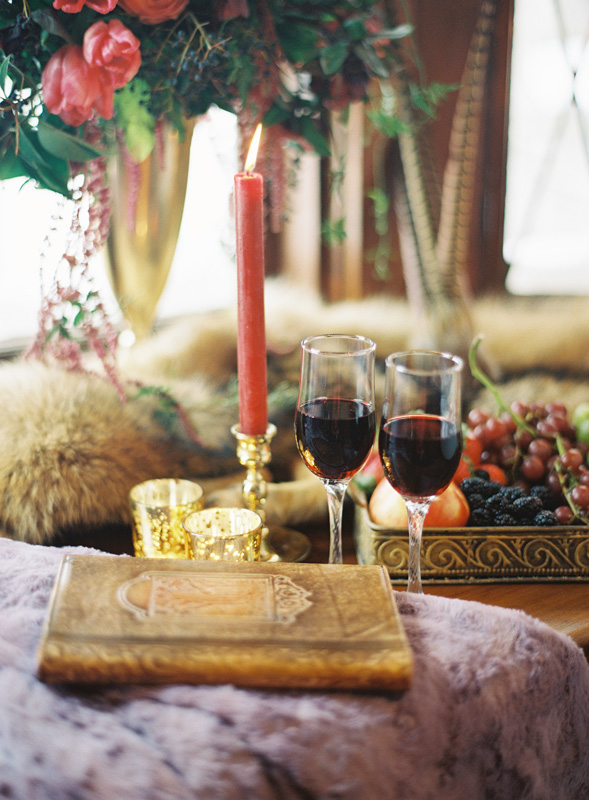 Red Wine   Red Candles   Northern Michigan Winter Wedding   Tableau Events