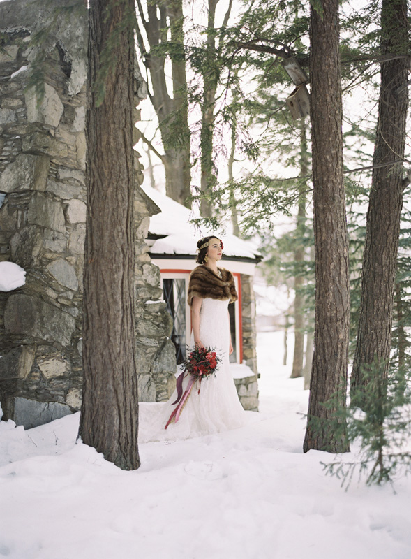 Bridal | Snowy Trees | Faux Fur Accents | Tableau Events
