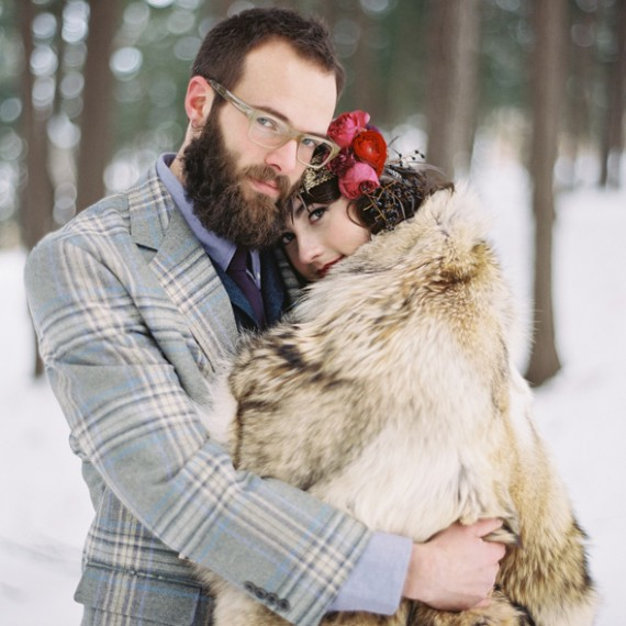 Winter Wedding | Plaid Suit | Faux Fur Shawl | Tableau Events | BLOOM | Weber Photography