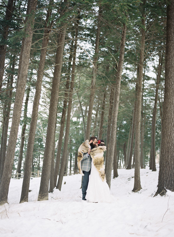 Snow Covered Pine Trees | Northern Michigan Bride and Groom | Tableau Events