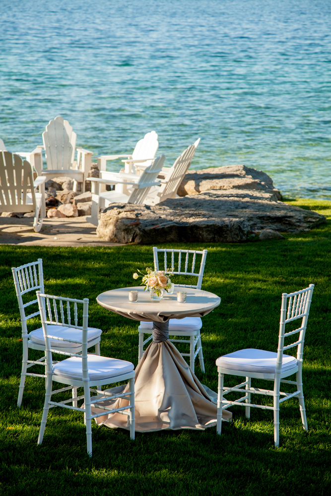 Cocktail Tables | Lake Michigan Wedding | Tableau Events