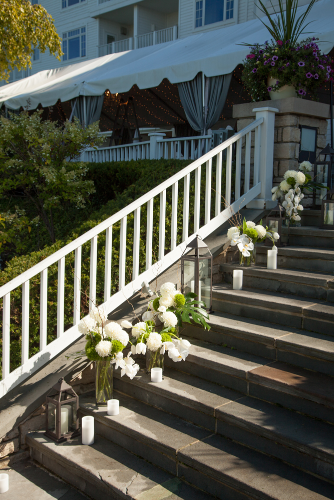 Floral Accents | Stair Decor | Northern Michigan Outdoor Wedding | Tableau Events