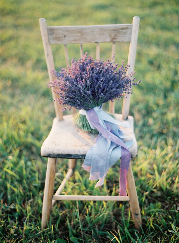 Wooden Chair | Lavender Bouquet | Bloom Floral Design | Tableau Events