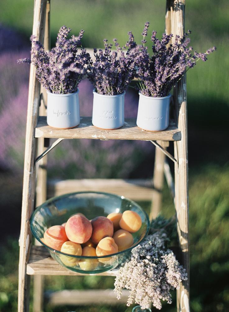 Lavender Farm | Peach Accents | Wooden Ladder | Tableau Events