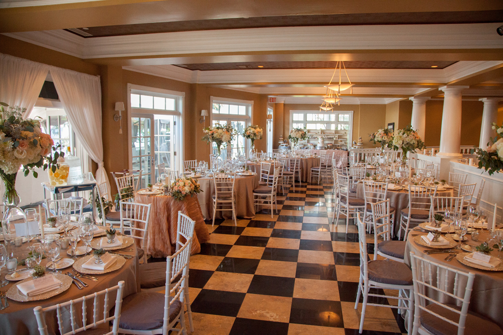 Indoor Wedding Reception | Black and White Tile | Tableau Events