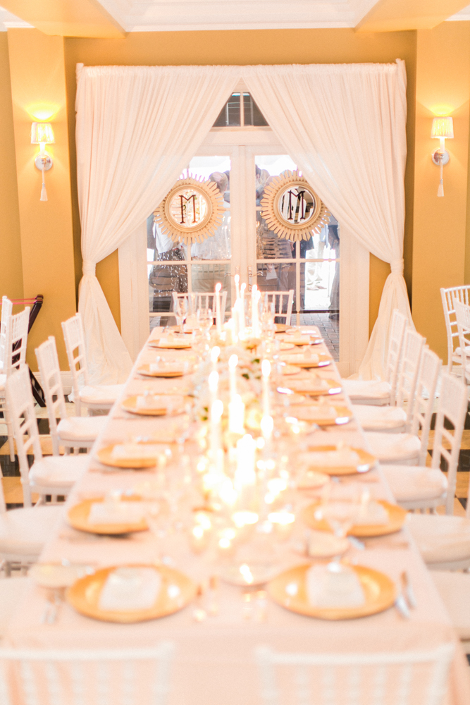 Long Table Arrangement | Tableau Events | Gold and White Accents