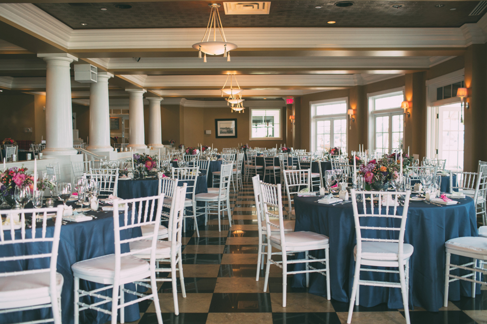 Indoor Wedding Reception | Navy and White | Tableau Events