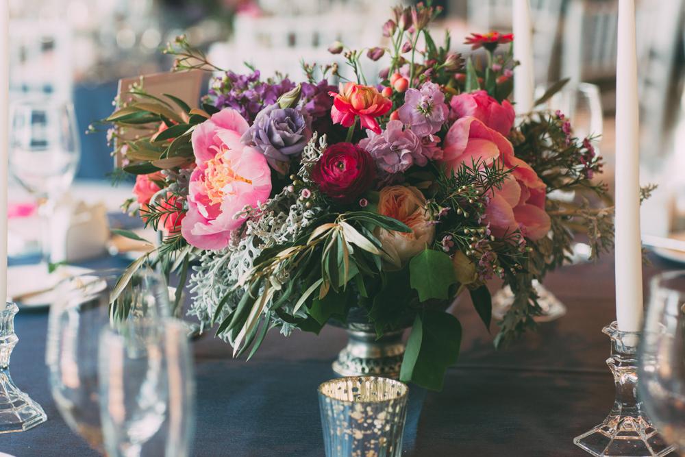 Floral Centerpieces   Silver Mercury Votives   Tableau Events