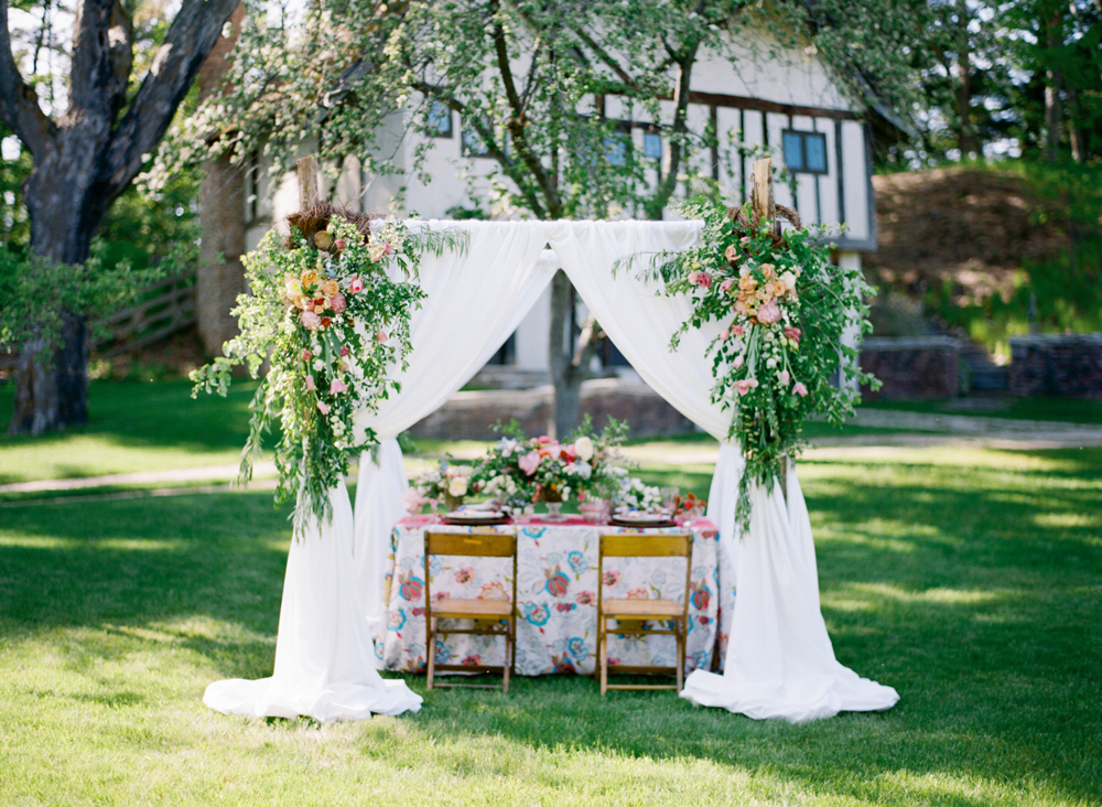Backyard Wedding Design | Fabric Display | Bloom Floral Design | Tableau Events