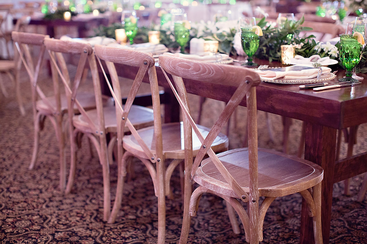 Ballroom Reception | Wooden Chairs | Tableau Events