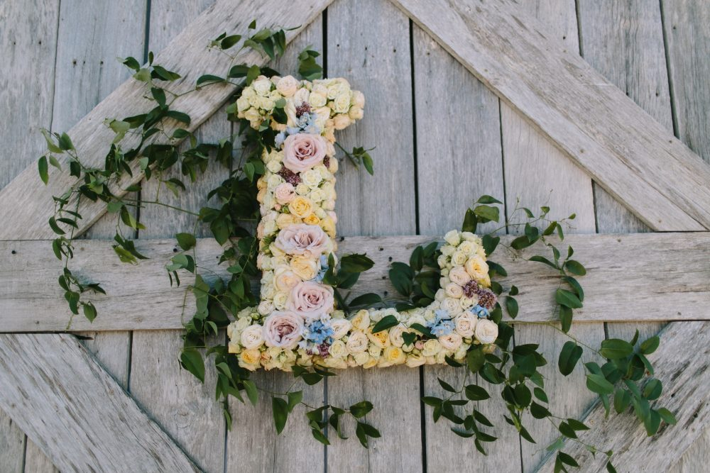 Floral Monogram | Bloom Floral Design | Northern Michigan Barn Wedding | Tableau Events