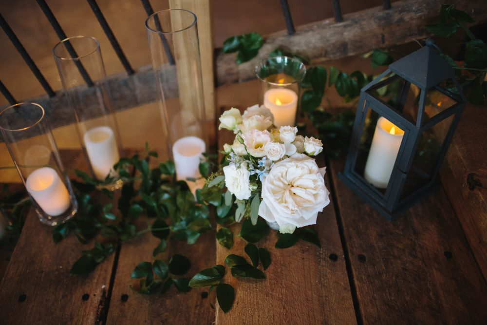 Floral | Candle Decor | Bloom Floral Design | Northern Michigan Barn Wedding | Tableau Events