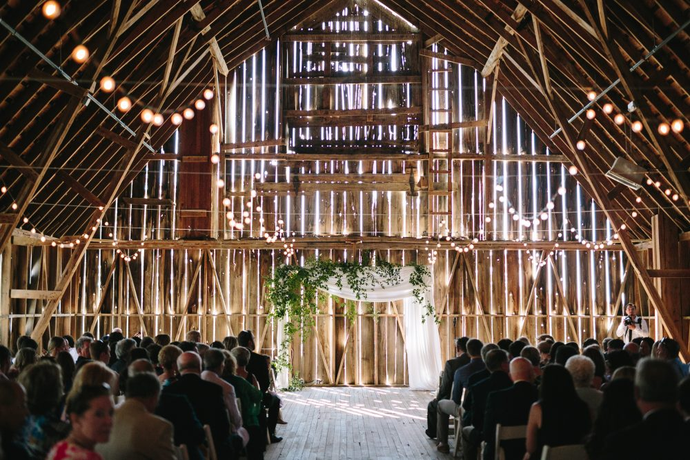 Barn Wedding | Ceremony Arch | Cafe Lighting | Northern Michigan Wedding Planning | Tableau Events