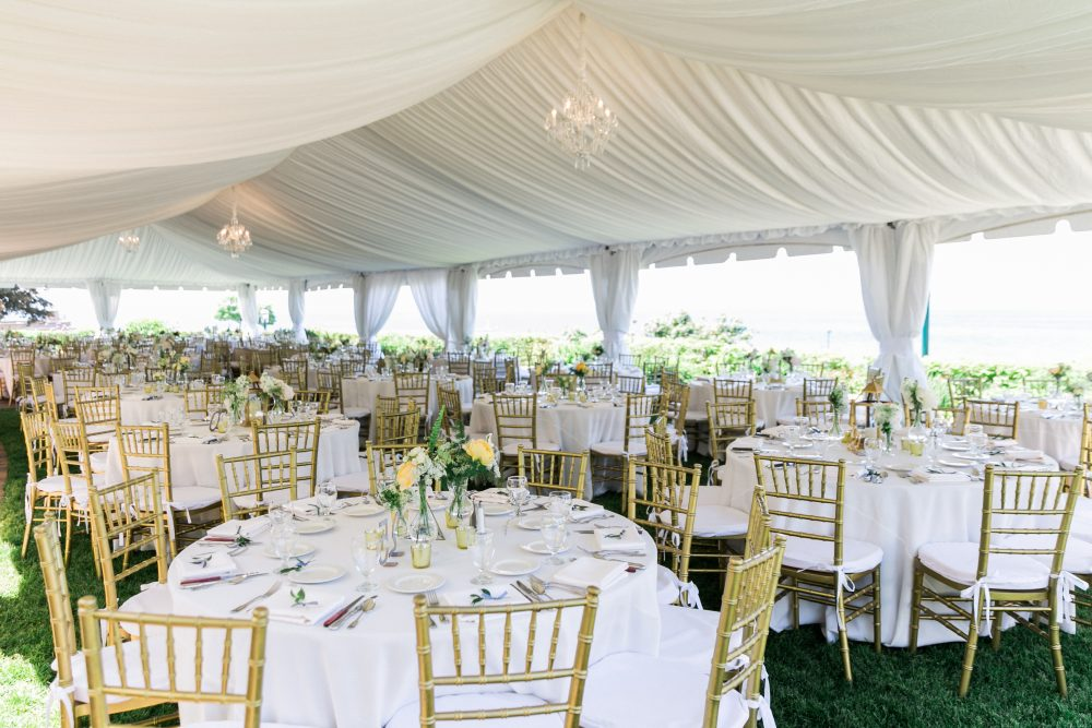 Chandeliers | Tent Reception | Outdoor Wedding | Tableau Events
