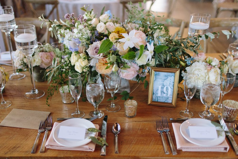 Table Decor | Framed Numbers | Northern Michigan Barn Wedding | Tableau Events