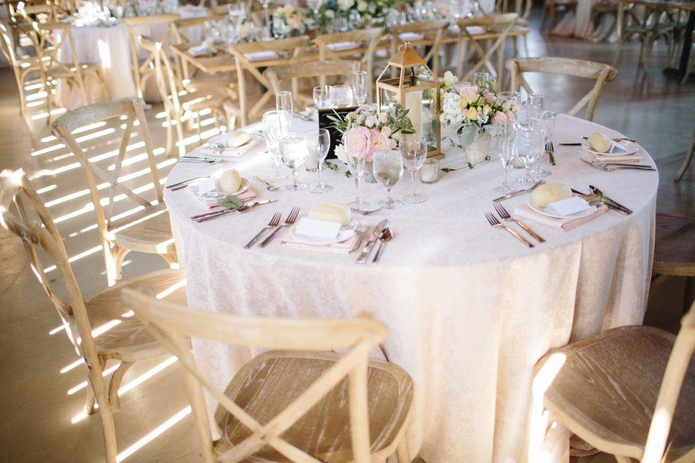 Reception Tables | Wooden Chairs | Blush White Cream Beige Pink | Tableau Events