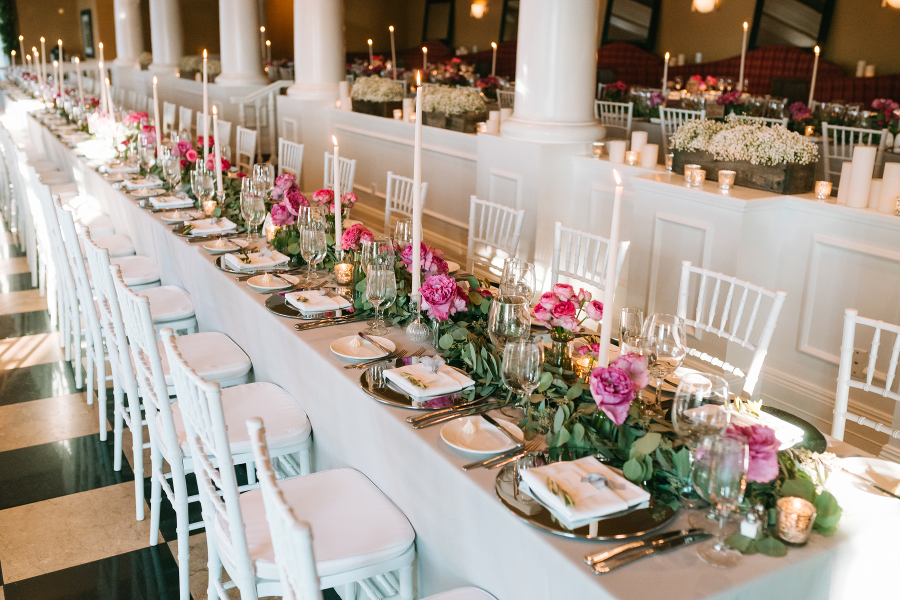 Reception Decorations | Inn at Bay Harbor | Long Table | Tableau Events | Bloom Floral Design