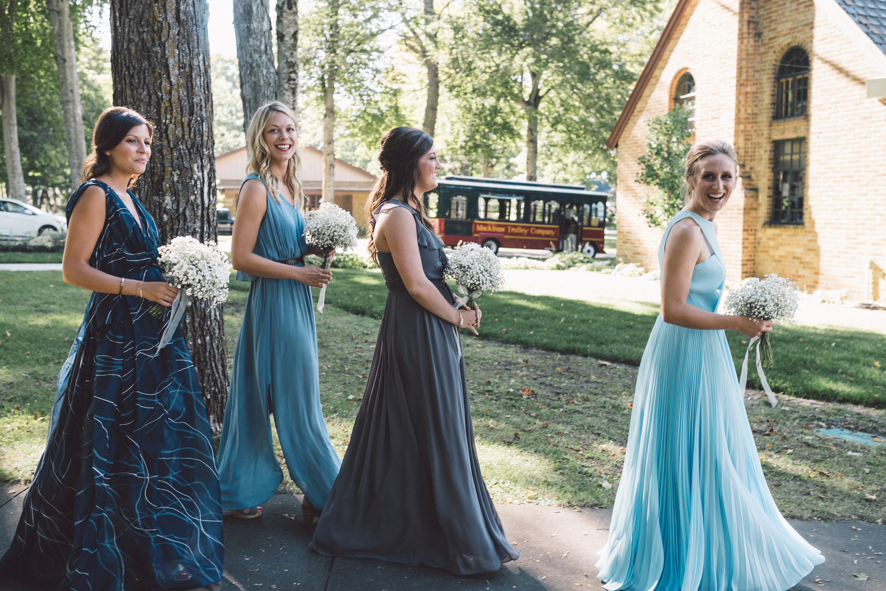 Navy and Blue Bridesmaids | Northern Michigan Wedding Planning | Tableau Events