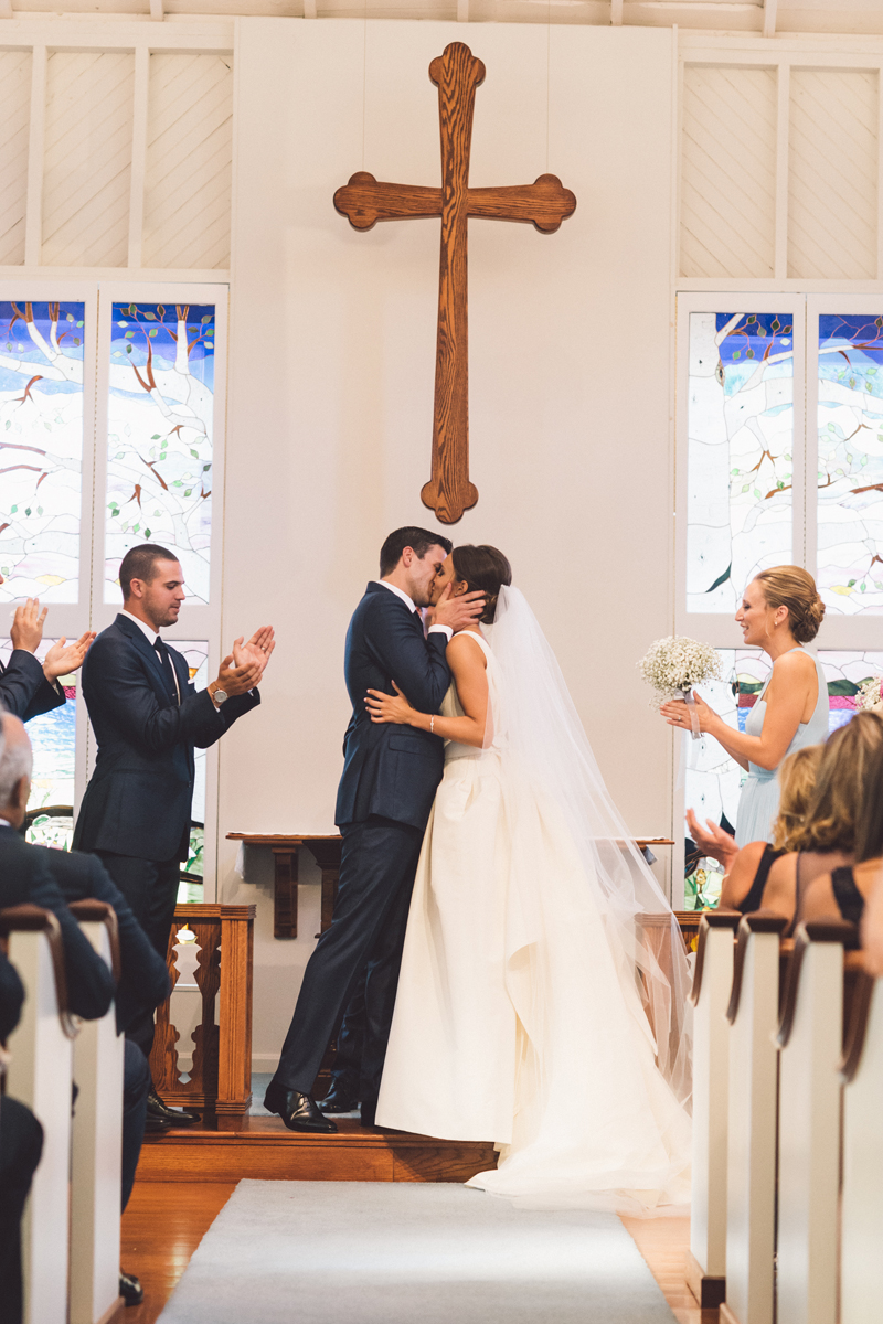 First Kiss | Classic Church | Summer | Northern Michigan Wedding | Tableau Events