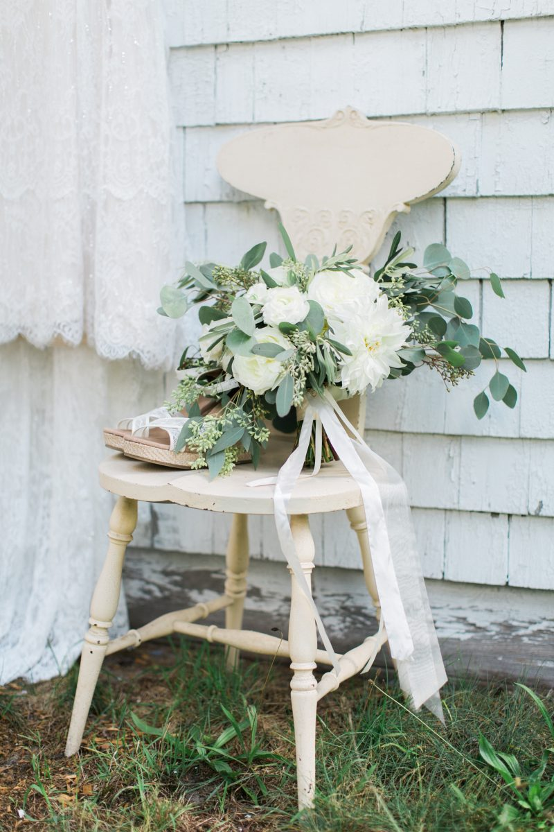 Green and White Bouquet | White Ribbon | Michigan