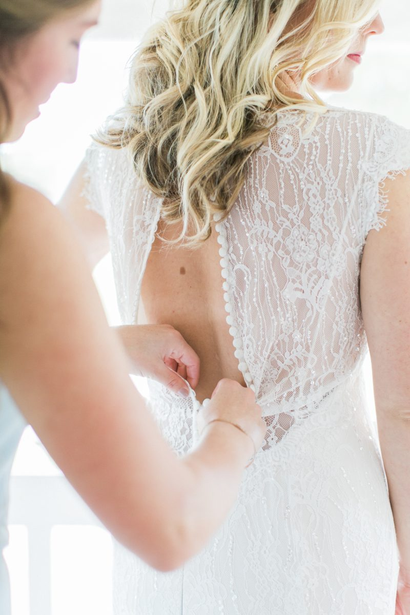Lace Button Wedding Dress | Northern Michigan | Simple Weddings