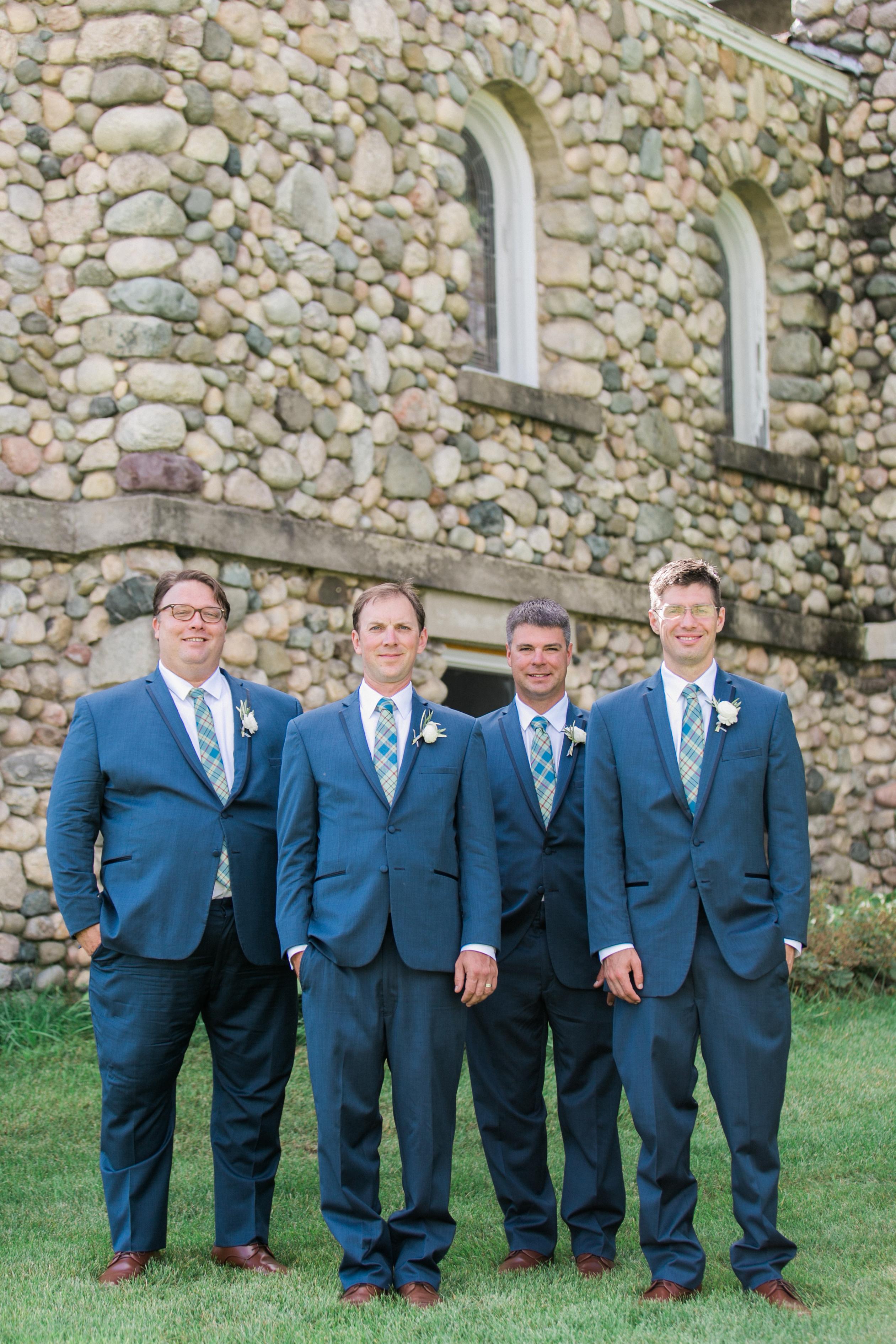 Navy Groom Suit | Stone Building | Wedding