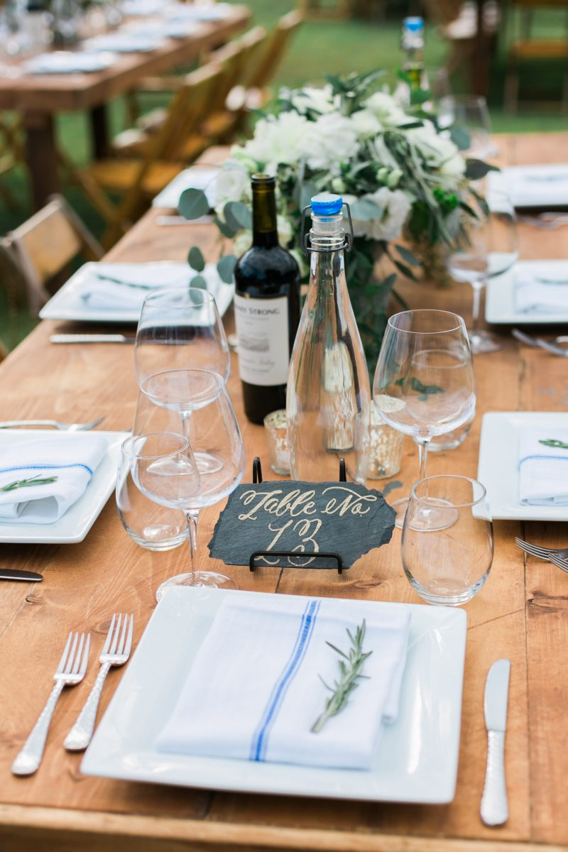 Farm Table | Slate Table Numbers | Blue Accents