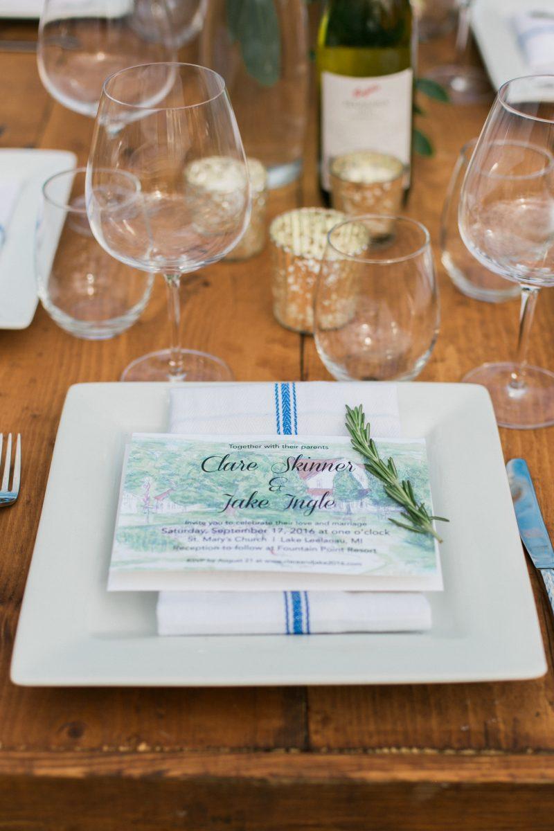 Custom Invitations | Farm Table | Outdoor Wedding | Lake Leelanau